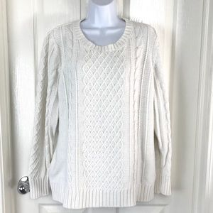 Old Navy Ivory Oversized Cable Knit Sweater Small